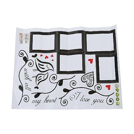 SODIAL Pegatina de pared arte de marco de foto Pajaros del amor Calcomania Pegatina de pared