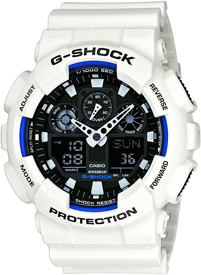 Casio Men s XL Series G-Shock Quartz 200M WR Shock Resistant Resin Color White Model GA-100B-7ACR