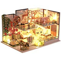 CUTEBEE Dollhouse Miniature with Furniture, DIY Wooden Dollhouse Kit Plus Dust Proof , 1:32 Scale Creative Room Idea…