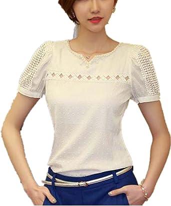 Culater® Mujer Encaje de Manga Corta de la Camisa V Cuello de Gasa Blusa Tops: Amazon.es: Ropa y accesorios