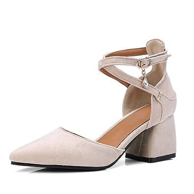 e1309a8ba1319 OALEEN Escarpins Femme Bout Pointu Talon Epais 6CM Suède Bride Croisée  Chaussures Sandales Soirée Beige 32