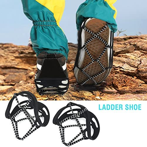 Dilwe Crampons Ice Cleats Traction Snow Grips Traction Cleats 1 Pair Anti-Skid Ice Cleat and Tread with Rubber Straps Stainless Steel Spikes for Outdoor Sports Mountaineering Walking Jogging Hiking