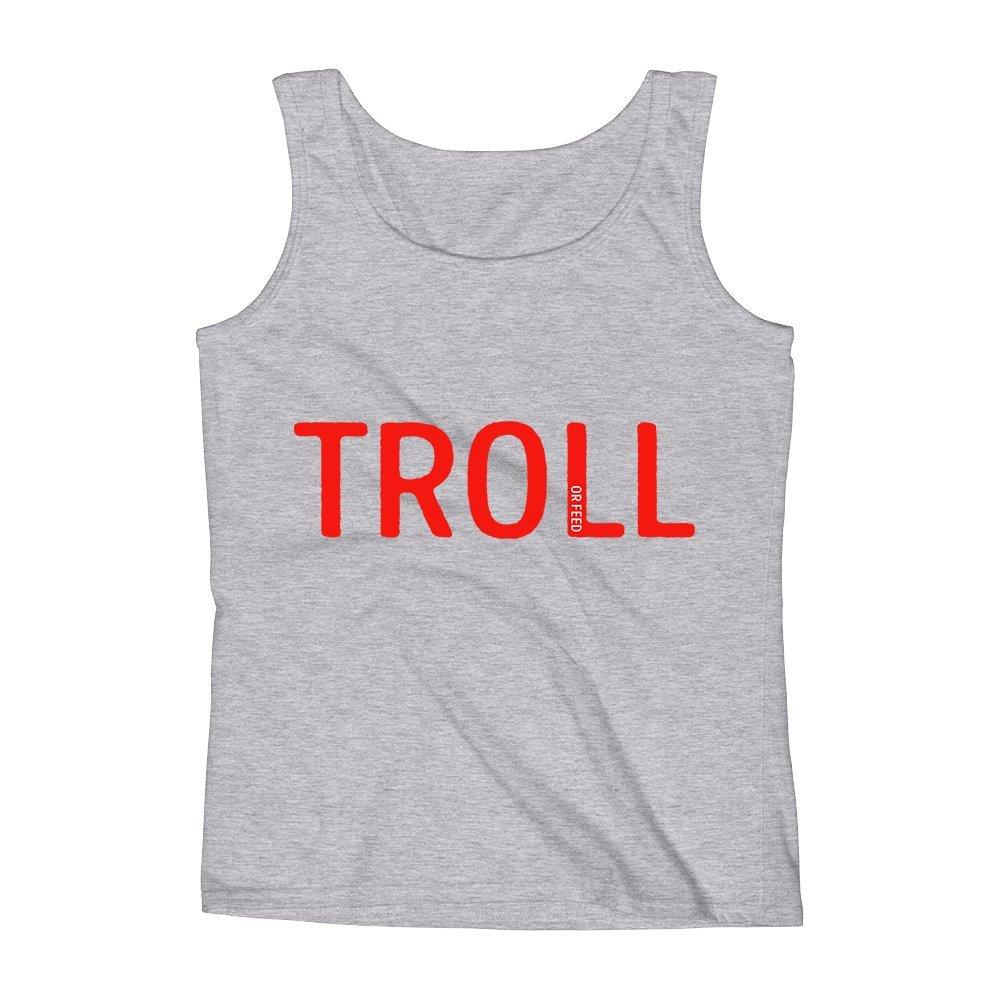 Mad Over Shirts Troll Or Feed Social Media Geek Unisex Premium Tank Top