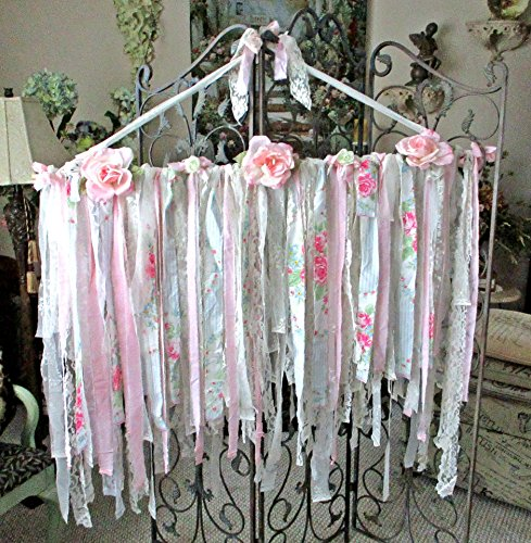 French Garland, Lace Banner, Boho, Shabby Chic, Pink and White, Vintage Lace, Rose Fabric, Nursery, Weddings, Paris Flea Market, Paris Apartment