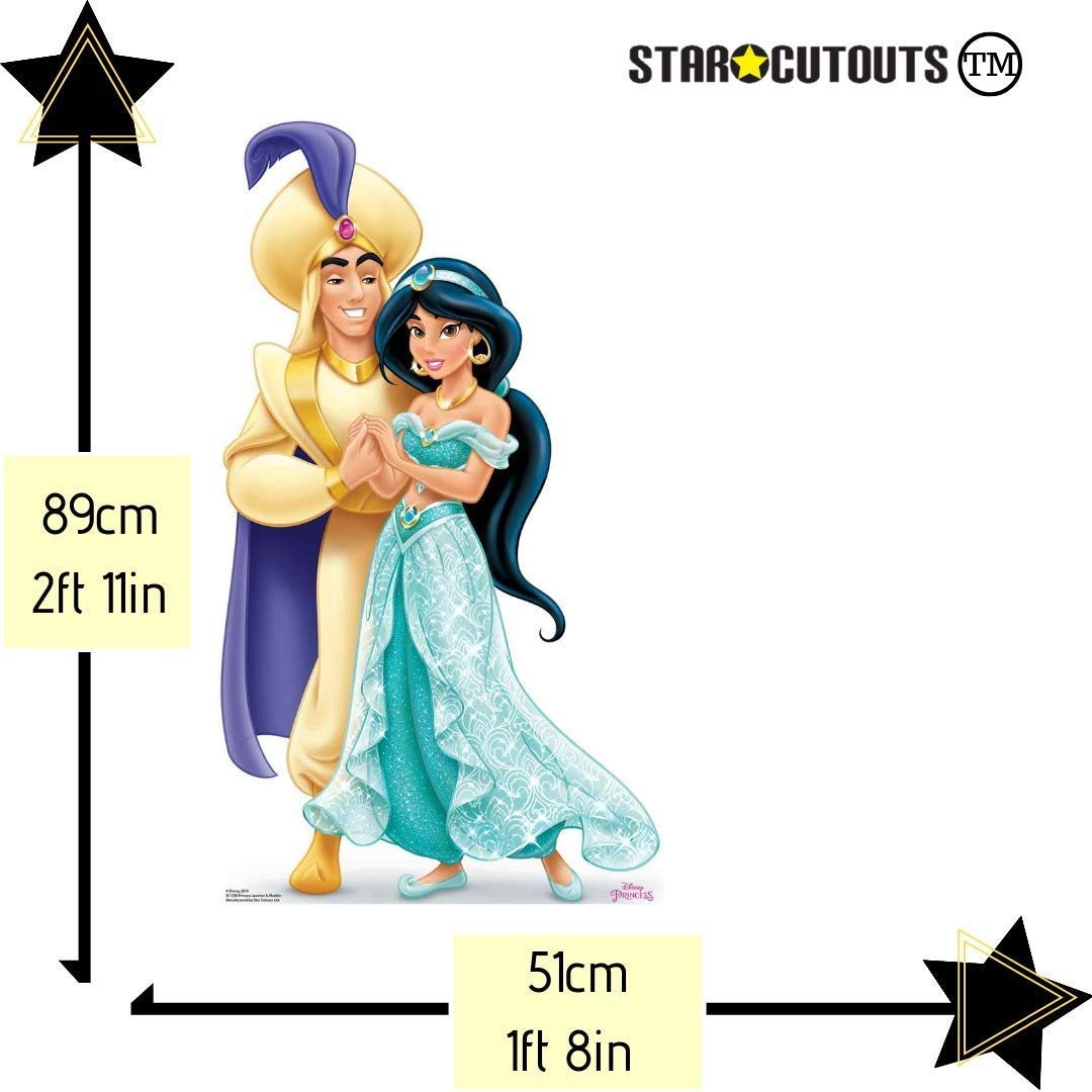 Parties and Events Multicolour Star Cutouts SC1356 Princess Jasmine and Aladdin Mini Cardboard Cutouts Height 89cm Perfect for Wedding Tables
