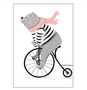 Carteles Bicicleta De Dibujos Animados Animal Living Room ...