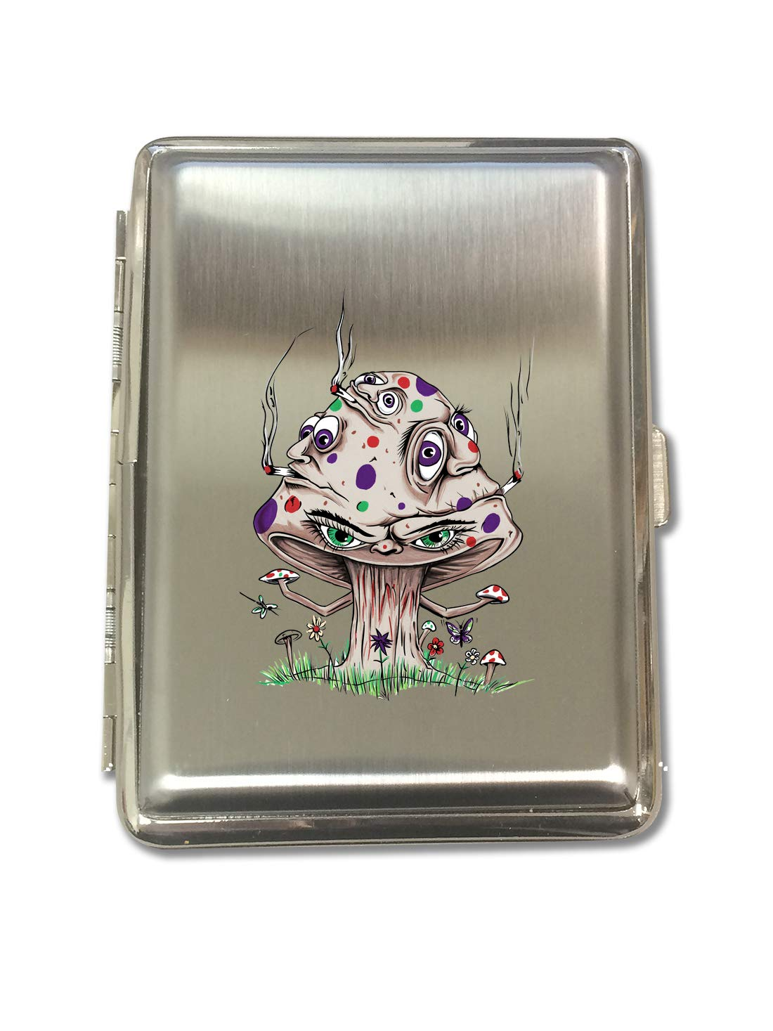High Mushroom Funny Shroom Smoking Joint Cartoon - Metal Kings Size Cigarette Case Holder Brushed Chrome Slim 16 Cigs Design Spring - Birthday, Bachelor, Party, Weddings, Gift