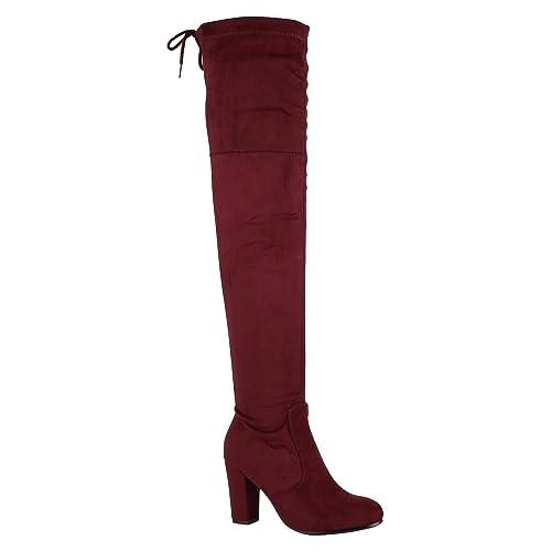 überlegene Materialien heiß-verkaufender Beamter gemütlich frisch Stiefelparadies Damen Stiefel Overknees mit Blockabsatz Profilsohle Flandell