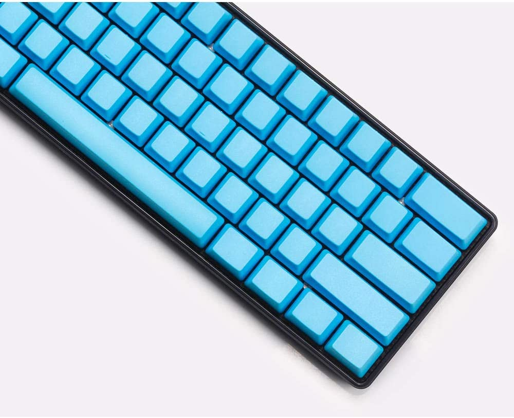 60% couleur non gravée, 61 touches Pbt Oem Keycap compatible clavier mécanique Poker 2 Gh60 Keycap (avec extracteur de clé) bleu