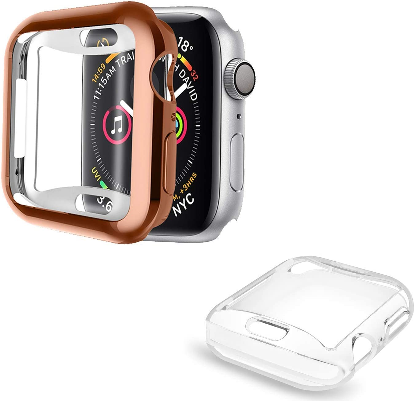 [2 Pack] ALADRS Screen Protector Case for Apple Watch 44mm, Full Protective HD Ultra-Thin Cover Compatible with iWatch Series 4 Series 5 Series 6 SE Bumper Case, Rose Gold+Clear