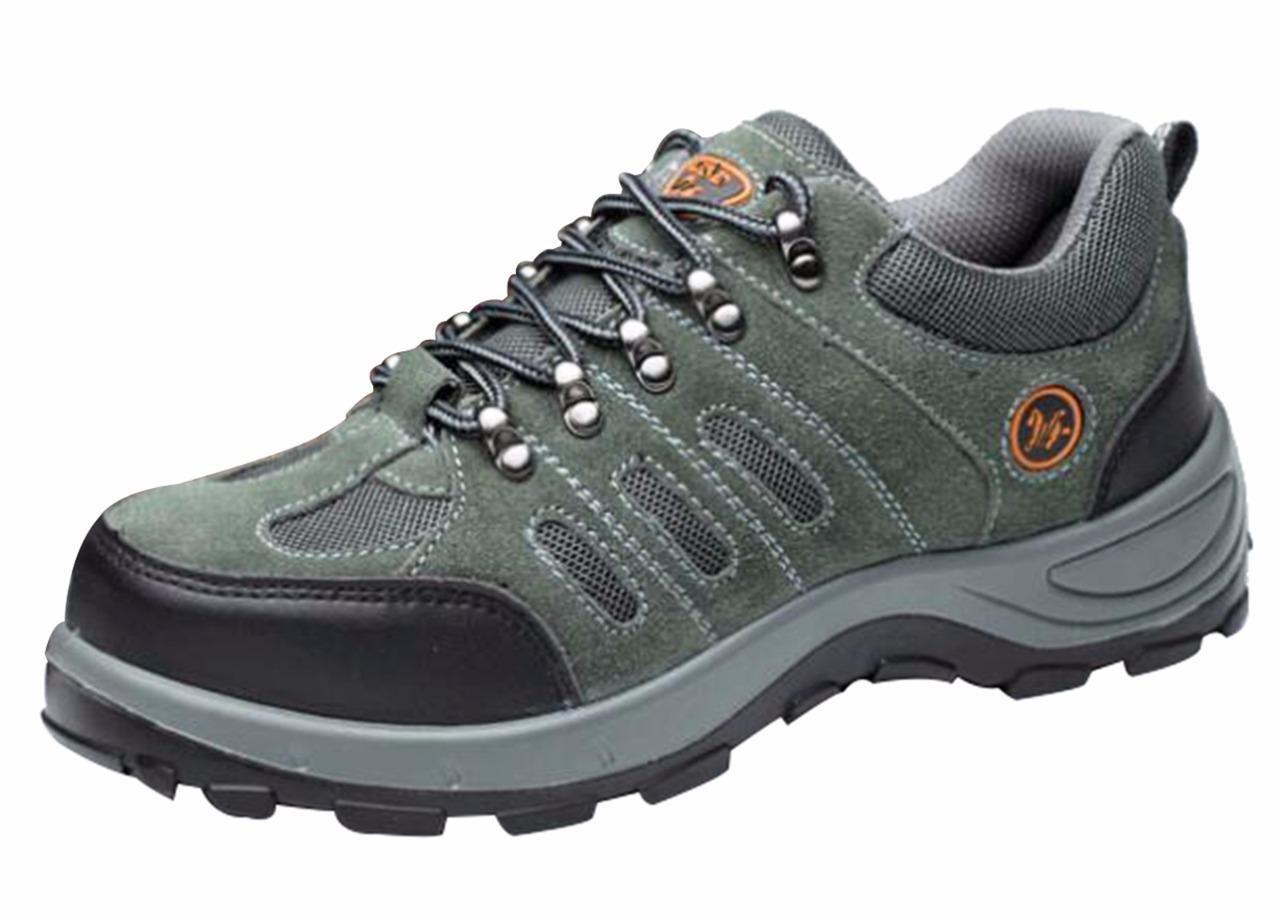 Jiu du Men's Safety Shoes Steel Toe Trainer Style Proof Footwear Industrial and Construction Footwear Army Green Leather Size US5.5 EU35 by Jiu du