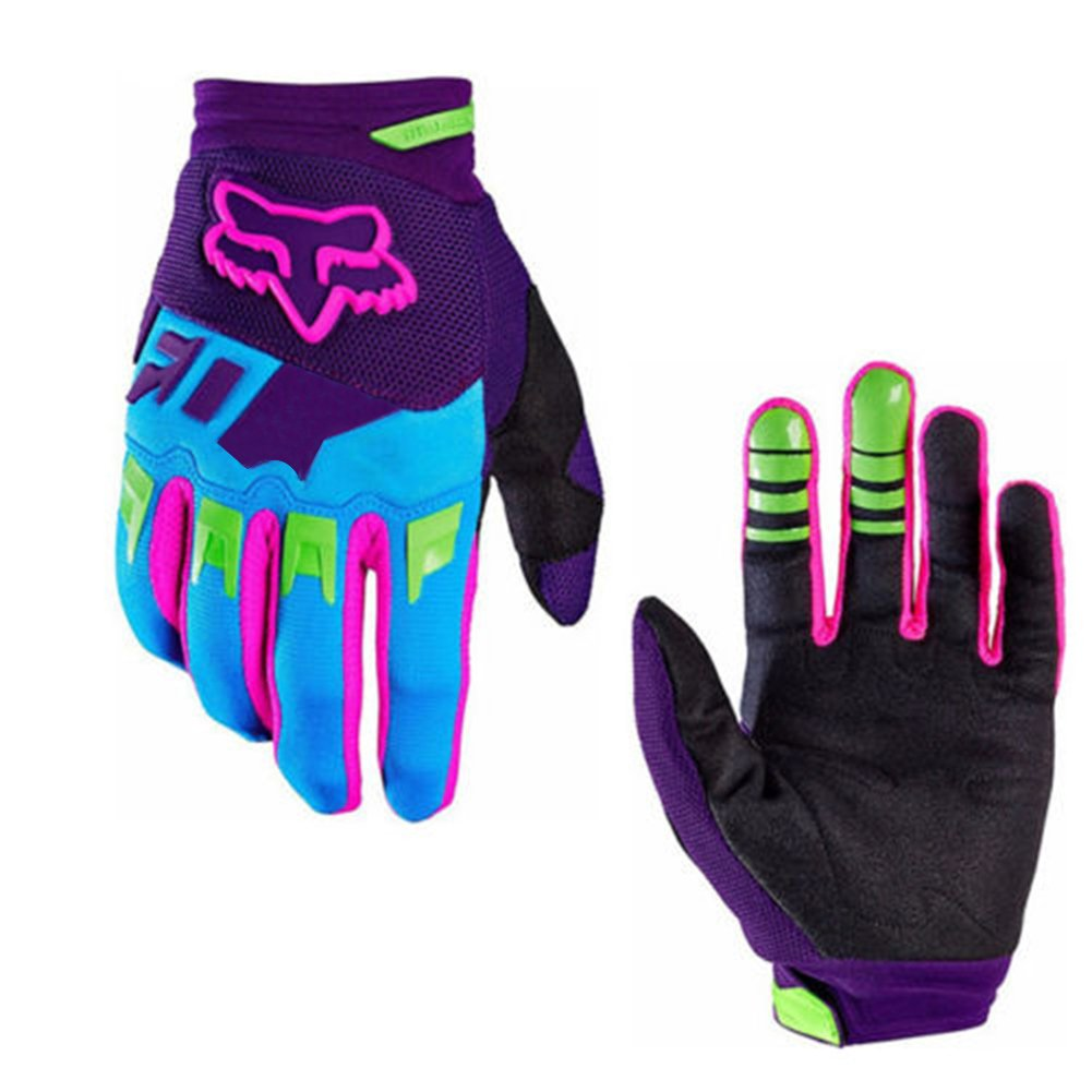 ShiningLove Full Finger Cycling Gloves Outdoor Sports Anti Skid Wear Resistance Breathable Gloves Unisex Racing Motorcycle MTB Bike Gloves Purple S