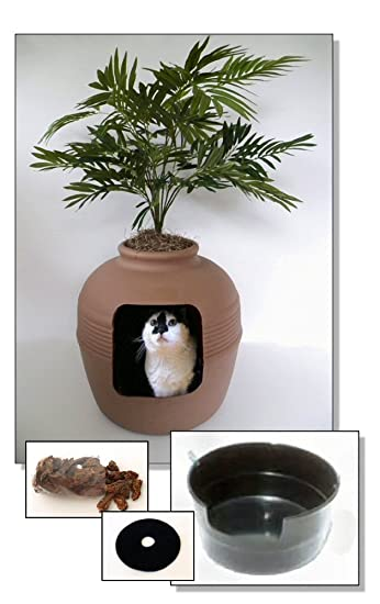 tuscany hidden litter cat box with phoenix palm and custom liner pan