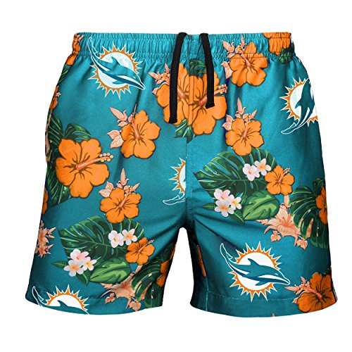 Dolphins Miami Colors (NFL Miami Dolphins Mens Team Logo Floral Hawaiin Swim Suit Trunksteam Logo Floral Hawaiin Swim Suit Trunks, Team Color, Medium (30