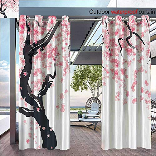 (DESPKON Environmental Protection Material Polyester Japanese Cherry Tree Blossom in Watercolor Painting Effect Oriental Stylized for Living Room Window,Sun Insulation. W72 x L72 INCH)