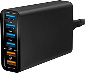 Quick Charge 3.0 Wall Charger, 60W 6-Port USB Charging Station for iPhone 11/PRO/PRO MAX/XS/XS Max/XR/X/8/7/6/Plus, iPad Pro/Air 2/Mini/iPod, Galaxy S10/S9/Plus, Note 10 and More [Qualcomm Certified]