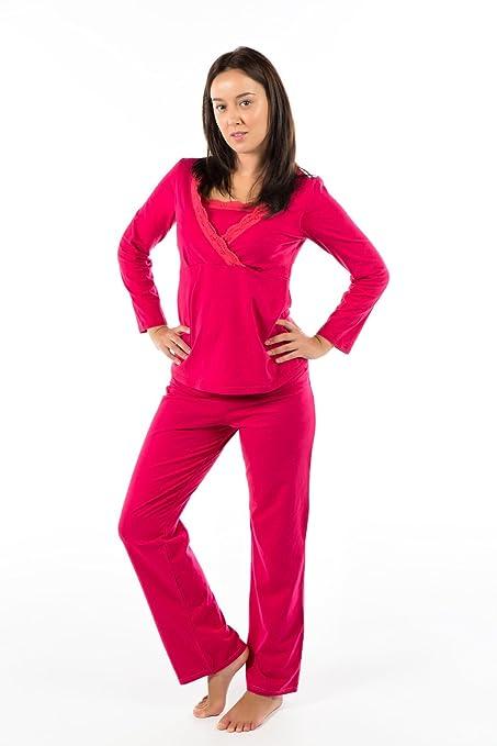 Pijama de lactancia. Color: Fucsia. Talla: XXL