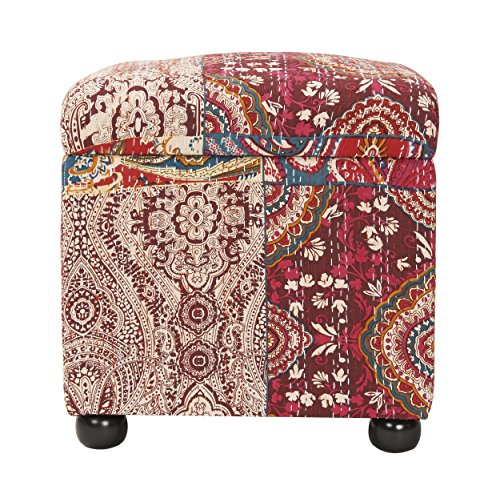 Jennifer Taylor Home Jacob Collection Bohemian Style Square Storage Ottoman With Flip Lid, Bombay (Bombay Living Room Ottoman)