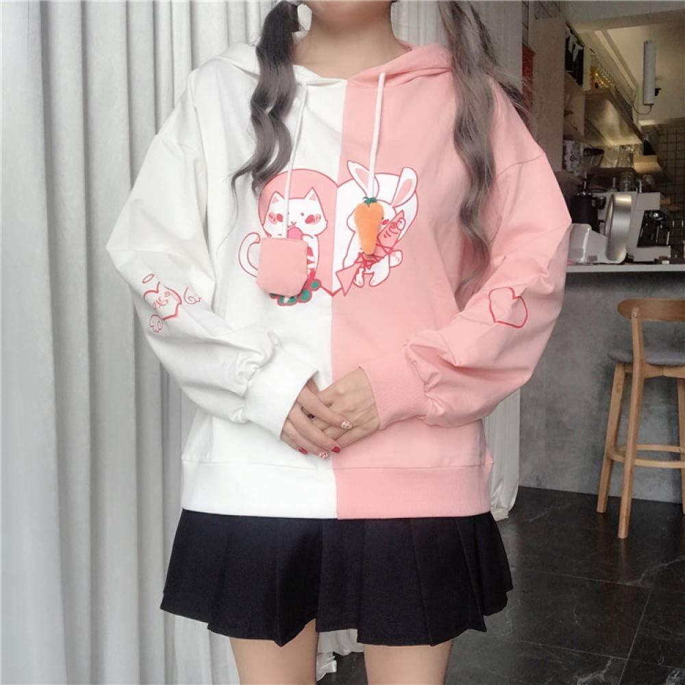 Sweatshirts Bunny Ear Kawaii Hoodie Frauen Süße Kaninchen Katze Schönes Sweatshirt Harajuku Weiche Mädchen Anime Pink Pullover Schwarzer Trainingsanzug Pink