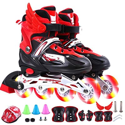 AIAIⓇ Children Men and Women Adjustable Full Flash Inline Roller Skates Set Including Helmet Protector Skates Single Row Roller Skates PU mesh: Home & Kitchen