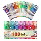 Aen Art Glitter Gel Pen by, Set of 100 Unique Colors Glitter Pens with Grip for Adult Coloring Books Bullet Journal Crafting Doodling Drawing - Perfect Gift Idea