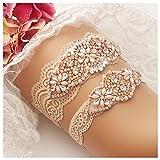 yanstar Wedding Bridal Garter Belt Champange Stretch Lace Bridal Garter Sets with Rose Gold Rhinestones Clear Crystal Pearl for Wedding