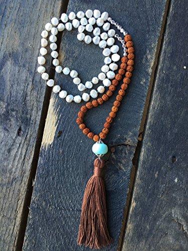 (108 mala bead, white freshwater pearls, Rudraksha seed beads, mala necklace, genuine silver beads, long 108 bead mala, yoga jewelry, **GORGEOUS** , healing)