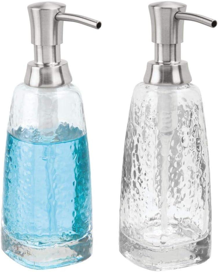 mDesign Modern Glass Refillable Liquid Soap Dispenser Pump Bottle for Bathroom Vanity Countertop, Kitchen Sink - Holds Hand Soap, Dish Soap, Hand Sanitizer & Essential Oils - 2 Pack - Clear/Brushed