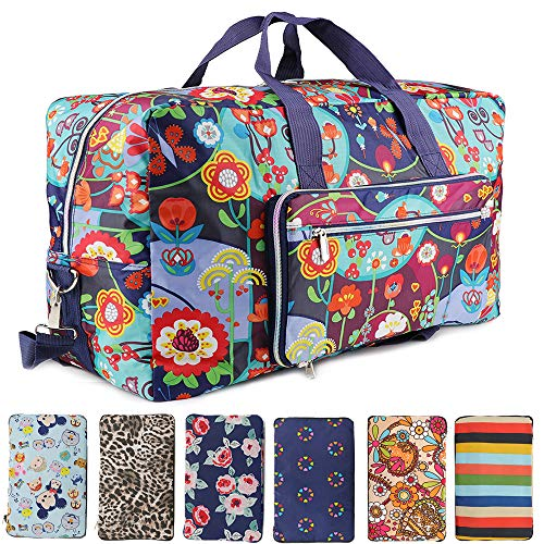 (Fordicher Women Nylon Foldable Large Travel Duffel Bag Travel Tote Luggage Bag for Vacation (Flower))