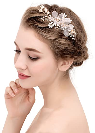 Amazon Com Bellady Wedding Bridal Golden Floral Hair Clips With