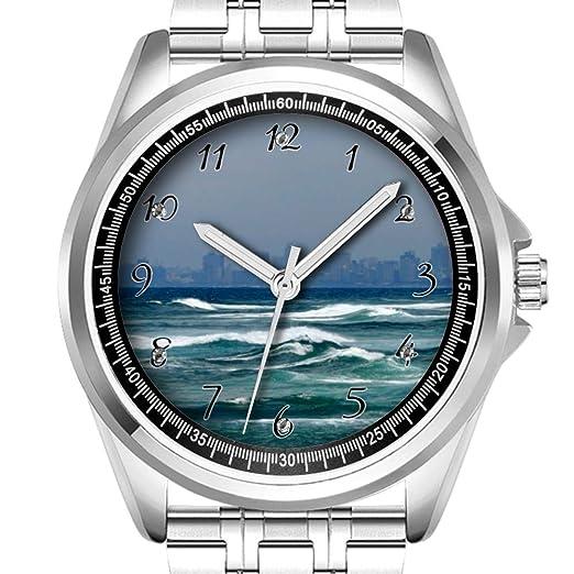 Reloj de Pulsera Personalizado para Hombre, a la Moda, Resistente al Agua, Diamond_309.City Skyline detrás de Las Olas del océano: Amazon.es: Relojes