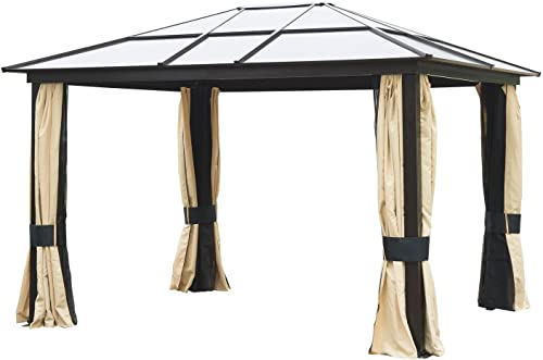Outsunny 12 x 10 Aluminum Frame and Polycarbonate Hardtop Gazebo Canopy Cover