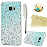 S7 Edge Case,Samsung Galaxy S7 Edge Case - Mavis's Diary 3D Handmade Bling Crystal Shiny Rhinestone Diamonds Special Hollow Floral Gradient Pattern Clear Case Hard PC Cover with Dust Plug & Stylus