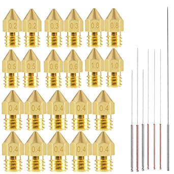 Anycubic Chiron 16 Pcs 3D Printer Nozzles Prusa i3 and Prusa Mini 8Pcs Lation Nozzle Kit and 8Pcs Stainless Steel Nozzles With 16 Nozzle Cleaning Needles Fits Anycubici3 Mega