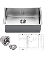 "VADANIA 28-inch Kitchen Sink, 28""x18""x10"", Single Bowl, Undermount, 18 Gauge T304 Stainless Steel, Satin Finish, with Strainer & Bottom Grid, cUPC Listed"