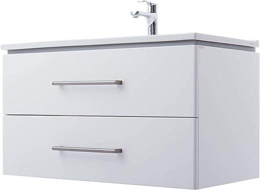 ZLATA Waschtisch MONTIERT | Waschbecken aus Keramik | Hochglanz Lackierung | Griffe aus Edelstahl & Soft-Close Funktion | Waschbecken mit... 1