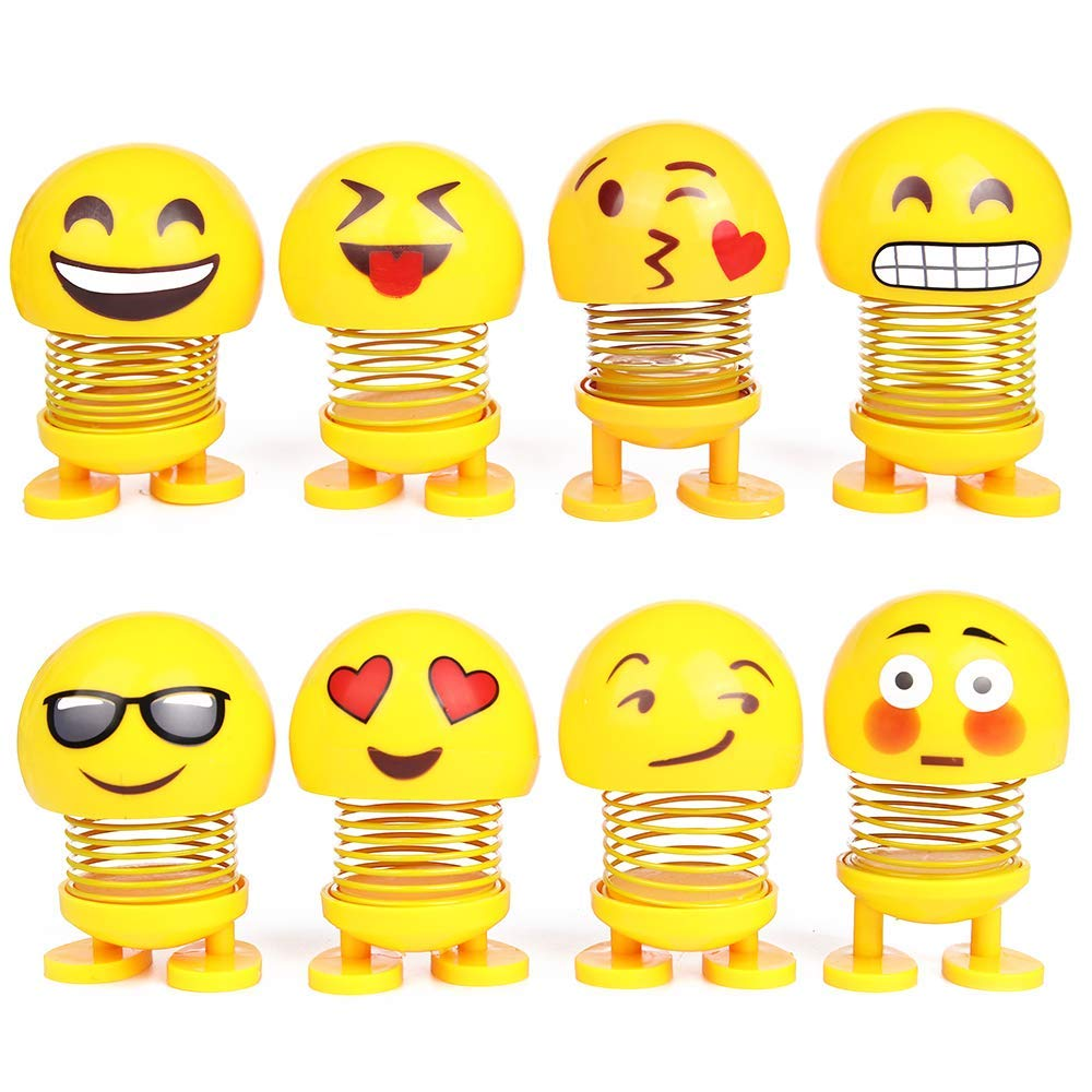 PROLOSO Spring Emoji Shaking Head Dolls Smiley Face Dancing Noddig Toys Theme Party Favors Car Dashboard Table Decoration Pack of 8