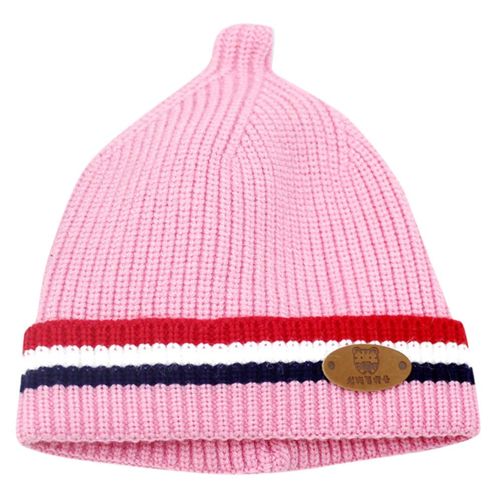 Sikye Winter Baby's Cap Newborn Infant Striped Crocheted Solid Hat Casual Daily Cozy Headwear (Pink)