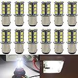 12-Pack 1157 BAY15D 1016 1034 7528 2057 White LED Light 12V-DC, AMAZENAR 5050 18 SMD Car Replacement For Brake Parking Turn Signal Light Lamps Tail BackUp Bulbs