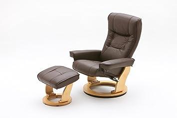 78e829519798 Fernsehsessel, Relaxsessel, TV-Sessel braun, Leder + Holz, mit ...