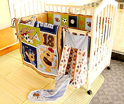 Sports Infant Shower Mobile Baby (BabyCrib Unique Cute Adorable Bear All Star Baseball Team Sports, 10 Piece Bedding Set, Including Crib Bumper, Diaper Stacker, and Bonus Baby Monthly Milestone Blanket for Newborn Baby Boy.)