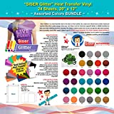 GERCUTTER Store - SISER Glitter Heat Transfer Vinyl, 24 Sheets, 20'' x 12'', Assorted Colors BUNDLE