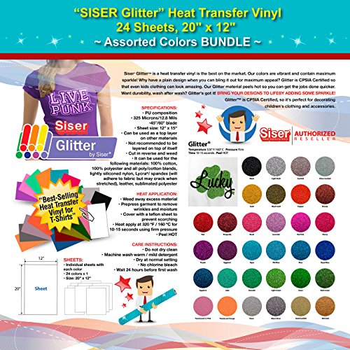 GERCUTTER Store - SISER Glitter Heat Transfer Vinyl, 24 Sheets, 20'' x 12'', Assorted Colors BUNDLE by GERCUTTER USA