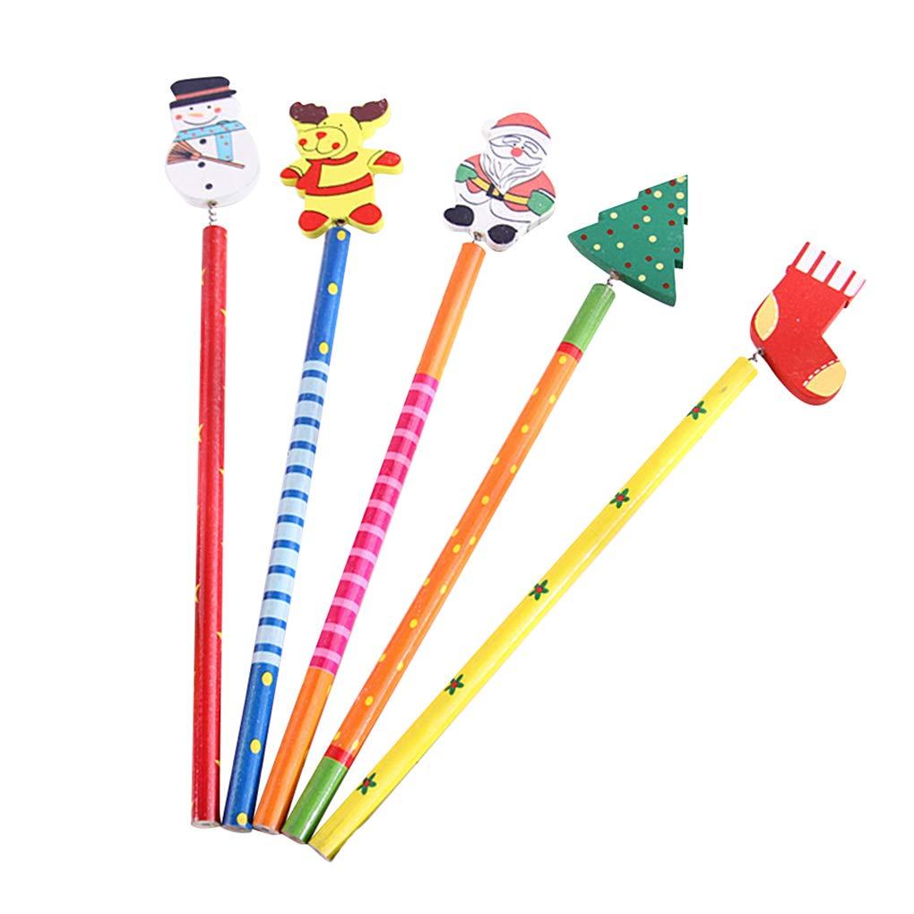 Cancelleria 5pcs penna di scrittura matita di legno Albero di Natale del pupazzo di neve calzino Campana Vecchio Sede didattica Kakiyi