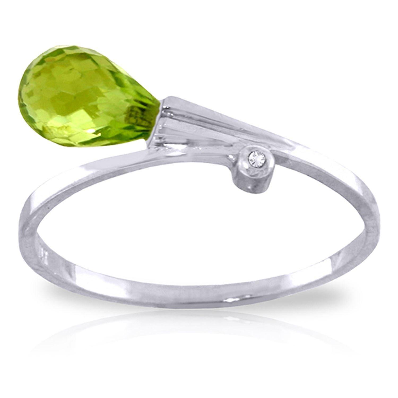 ALARRI 1.51 Carat 14K Solid White Gold Love Takes Rime Peridot Diamond Ring With Ring Size 9