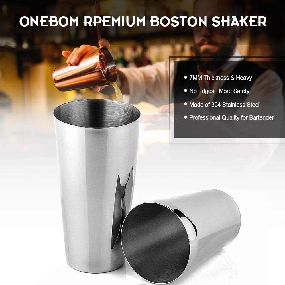 OneBom Cocktail Shaker Set, 25OZ 20OZ Boston Shaker Tin,13pcs Drink Mixer Bartender Kit 18 8 Stainless Steel, Professional Weighted Bar Shaker,for Birthday Christmas Gift 13pcs Boston Shaker Set