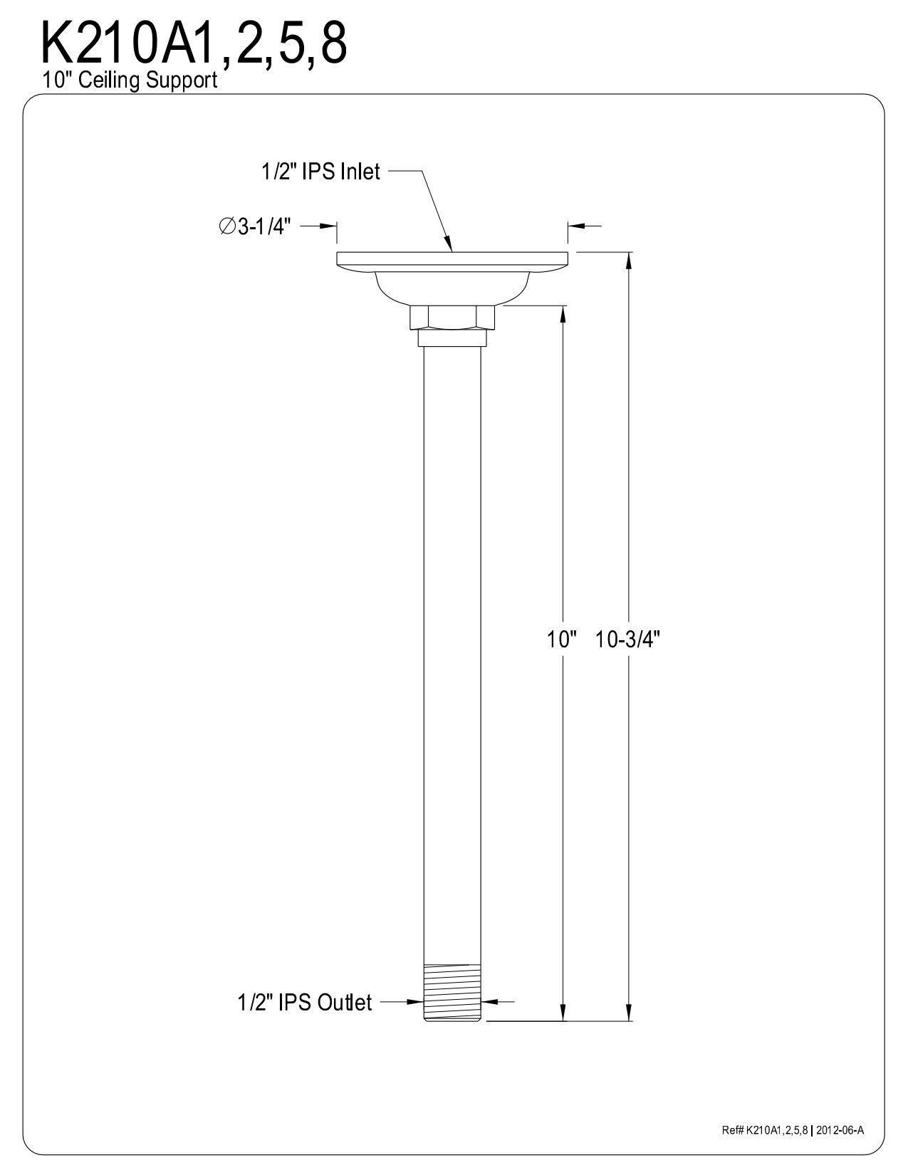 Kingston Brass K210A5 Designer Trimscape Showerscape 10-Inch Raindrop Shower Arm, Oil Rubbed Bronze