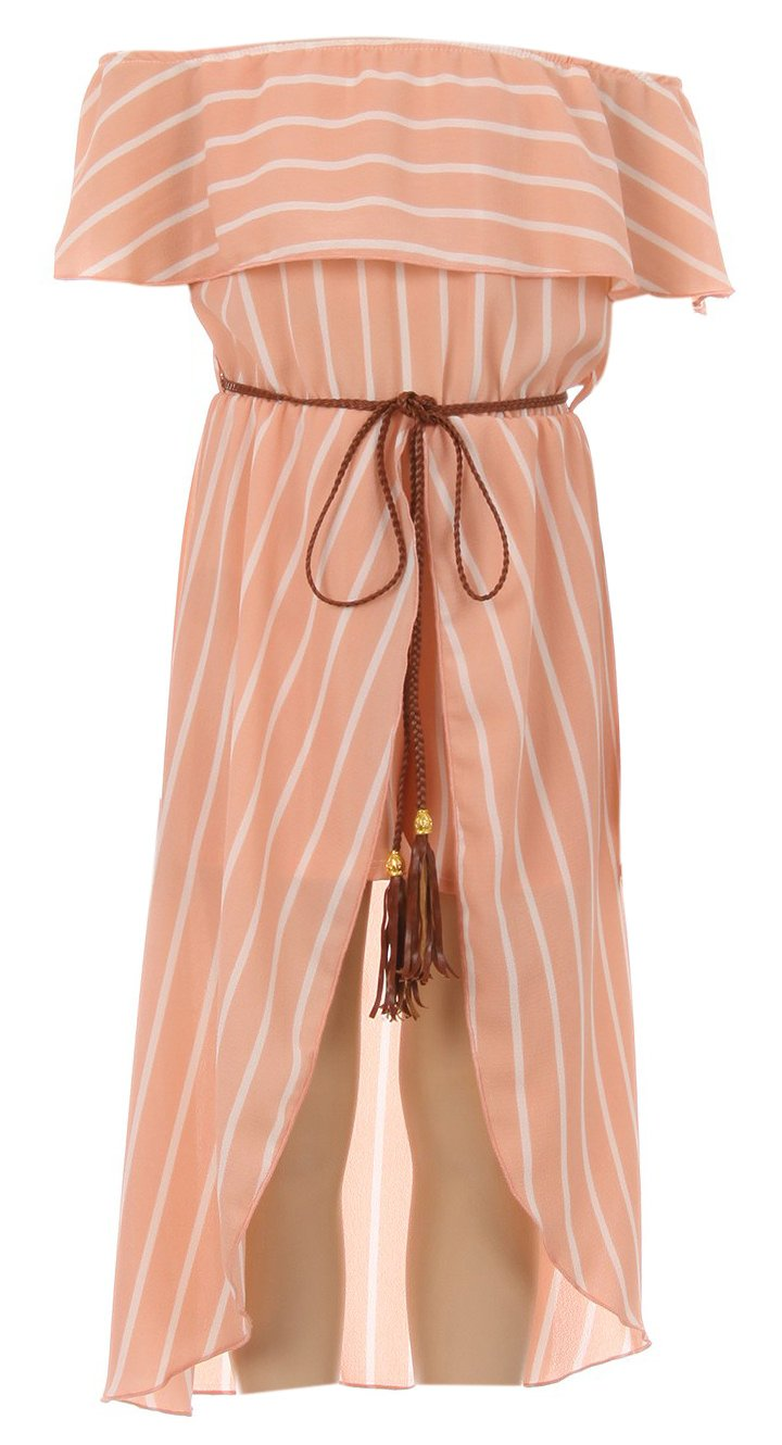 Big Girl Off Shoulder High Low Maxi Skirt Romper Casual Summer Birthday Outfit Peach 8 JKS 2137