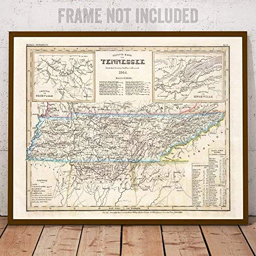 Tennessee Antique Vintage Style Map Art - The Perfect Wall Decor in This High Detail Restored Reproduction ()