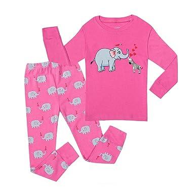 """Elephant"" Little and Big Girls Pajamas 100% Cotton 2 Piece Kids Pjs"